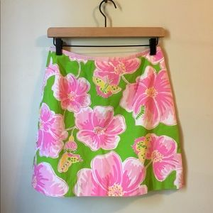 Lilly Pulitzer Skirt Hibiscus Flowers/Butterflies